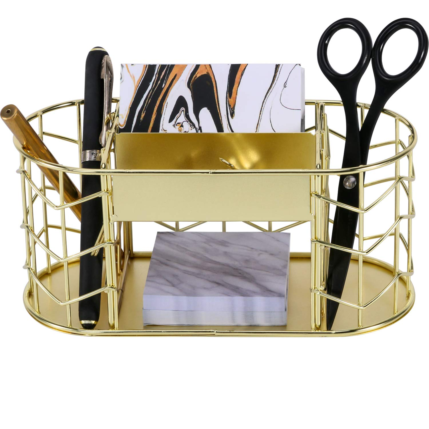 Nugorise Desk Supplies Organizer, 5 Compartments - 2 Pen Holders, 2 Slot Business Card Holder and Memo Holder, Multifunctional Wire Stationery Storage Caddy, Gold