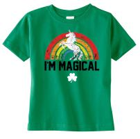 Toddler, Youth & Kid's St. Patrick's Day Magical Rainbow Unicorn Boy/Girl T-Shirt, Dress, 3/4 Sleeve Raglan, Tank & Onesie