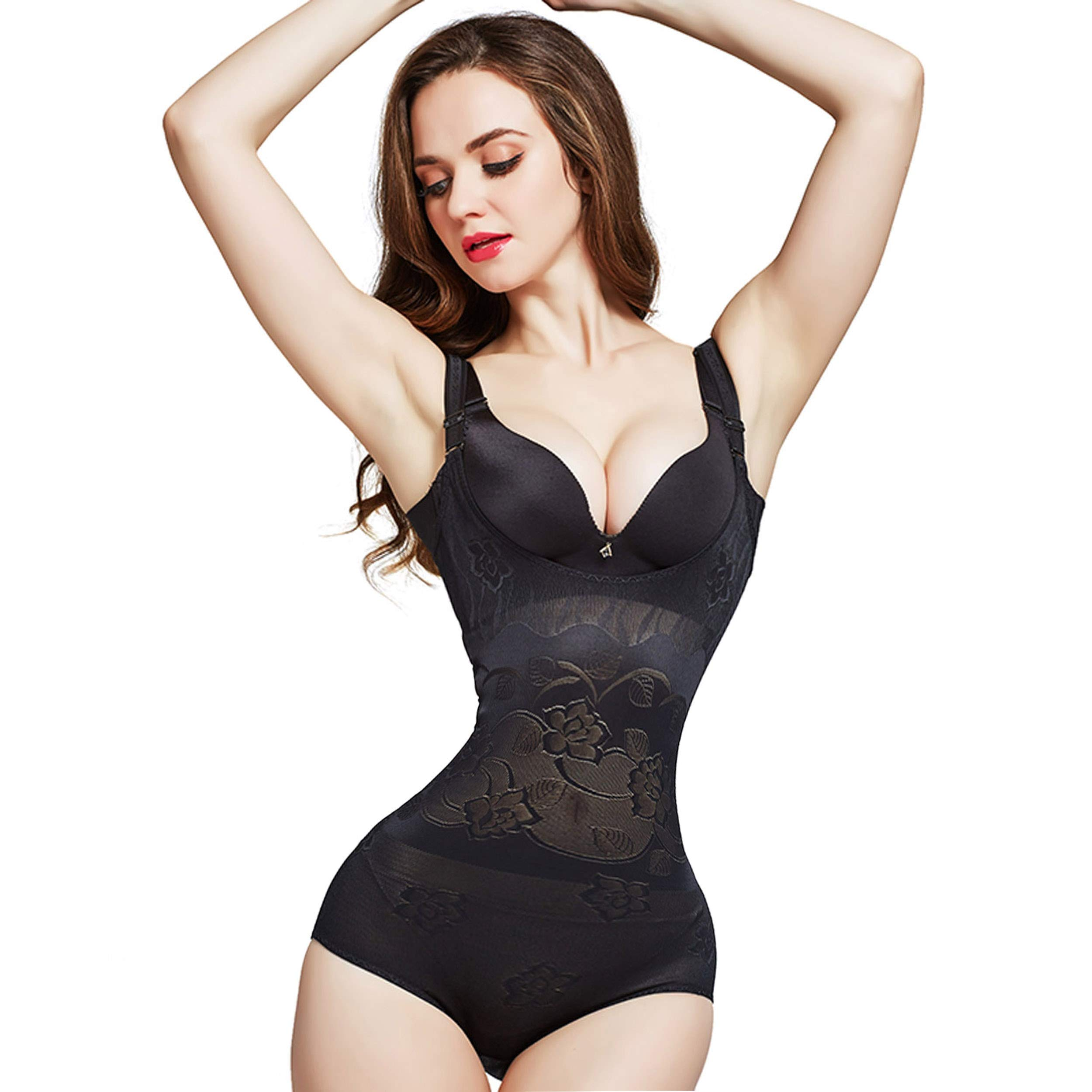 Queenral Women's Shapewear Open Bust Body Briefer Slimmer Firm Body Shaper