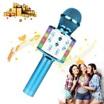 Bluetooth Karaoke Wireless Microphone with LED Lights,4-in-1 Portable Handheld Karaoke Mic Speaker Machine for Christmas Birthday Home Party Best Gifts for Kids Adults