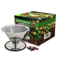 Java Planet - Pour Over Coffee Cone Dripper -Reusable Stainless Steel Filter Single Cup Portable Drip Coffee Maker