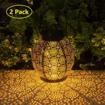 Solar Lanterns Outdoor Hanging Decorative Solar Lights Outdoor for Garden Patio Courtyard Lawn and Tabletop with Shadow Casting. 2 Color Options Black and Bronze. (Black 2 Pack)