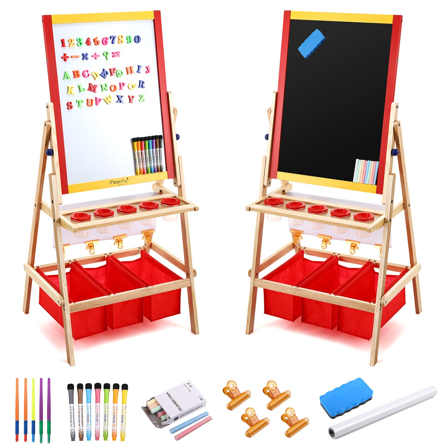 Magicfly Kids Art Easel with Paper Roll, Double Sided Toddler Childrens Easel Chalkboard and Magnetic Dry Erase Board for Kid Painting and Drawing, Multiple Art Accessories Included