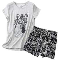 ENJOYNIGHT Women's Cute Sleepwear Print Tee and Shorts Pajama Set