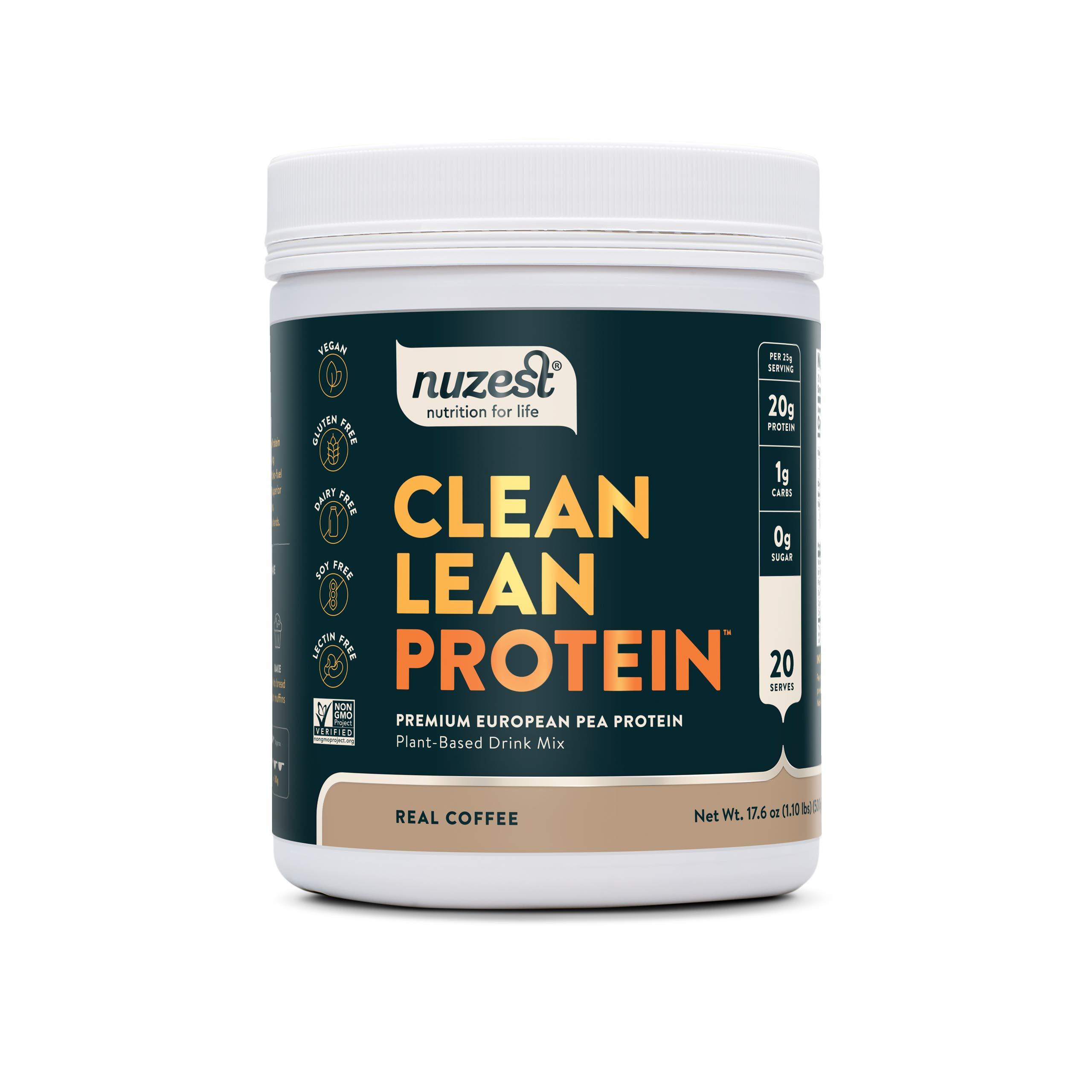 Nuzest Clean Lean Protein - Premium Vegan Protein Powder, Plant Protein Powder, European Golden Pea Protein, Dairy Free, Gluten Free, GMO Free, Naturally Sweetened, Real Coffee, 20 Servings, 1.1 lb
