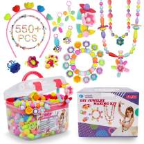 Pop Beads - 550+Pcs DIY Jewelry Making Kit for Toddlers 3, 4, 5, 6, 7 ,8 Year Old, Kids Pop Snap Beads Set to Make Hairband, Necklaces, Bracelets, Rings and Art & Crafts Creativity Toys for Girls Boys