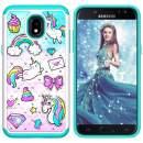 Lantier Heavy Duty Glitter Bling Hybrid Dual Layer Hard Cover Soft TPU Diamond Case for Samsung Galaxy J3 2018/J3 Star/J3 Orbit/J3 V 3rd Gen/J3 Achieve/Express Prime 3/Amp Prime 3 Unicorn