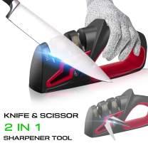 Kitchen Knife Sharpener for Straight Knives and Scissors, 3 Stage Manual Diamond Knife Blade Sharpener for Pocket Knife Professional Chef Use