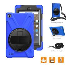 BRAECNstock All-New Fire 7 2019 Case for Kids, Heavy Duty Shockproof Protective Cases with 360 Degree Rotating Kickstand, Hand Grip, Shoulder Strap, for Amazon Fire 7 Inch Tablet 9th Generation (Blue)