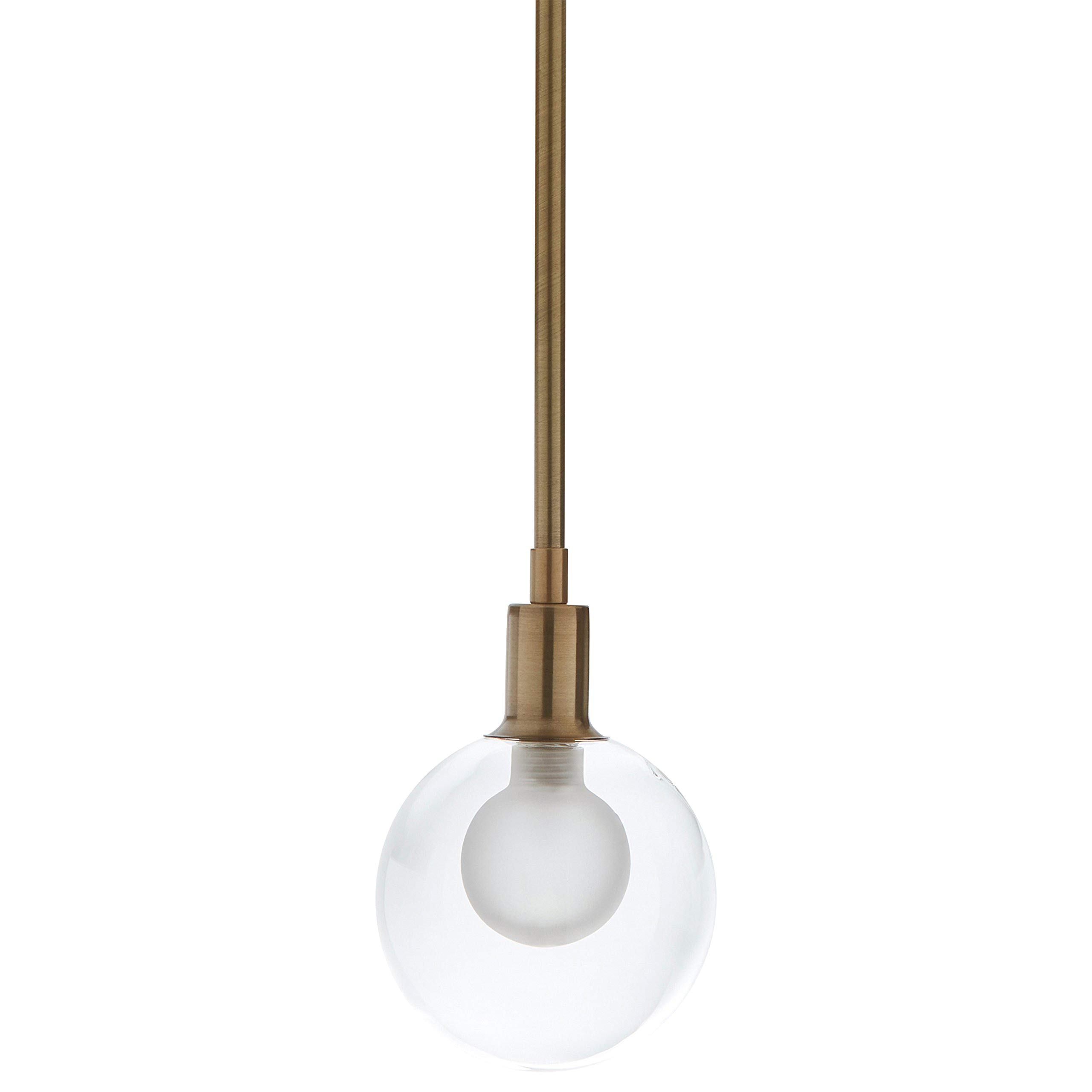 Amazon Brand – Rivet Mid-Century Modern Ceiling Hanging Glass Globe Pendant Fixture With Light Bulb - 5 x 5 x 10 Inches, Gold