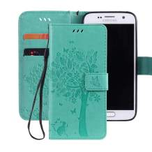 Ropigo Emboss 3D Tree Cat Flowers Wallet Case for Samsung Galaxy S7 Flip Kickstand Leather Protective Case with Wrist Strap,Magnetic Closure,Credit Card Slots Holder Mint Green