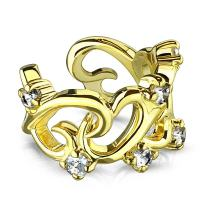 MoBody Non Piercing Adjustable Filigree Linked Hearts with CZ Accents Ear Cuff Earring