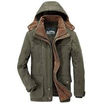 Flygo Men's Winter Warm Thicken Sherpa Lined Coat Parka Jacket with Removable Hood