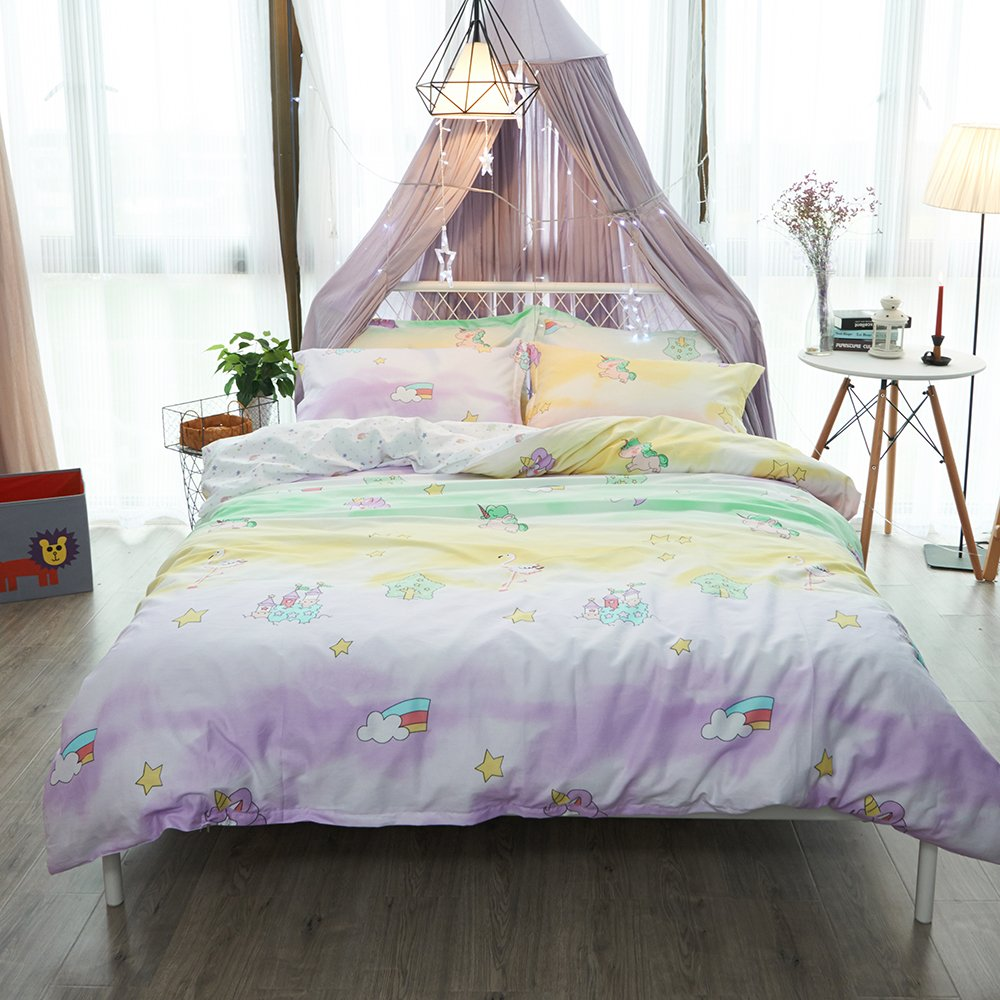 OTOB Cartoon Unicorn Full Size Bedding Sets Queen Duvet Cover Set for Girls Kids Adult 100% Cotton Bedding Duvet Cover Queen Reversible 3 Piece Children Teen Rainbow Yellow Pink with Zipper Tie