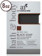 ArtNaturals African Black Soap Bar - (8 Oz / 226g) - Pure and Natural Acne Treatment - Exfoliating, Cleansing and Conditioning Face and Body Wash - Shea Butter, Olive Oil and Charcoal