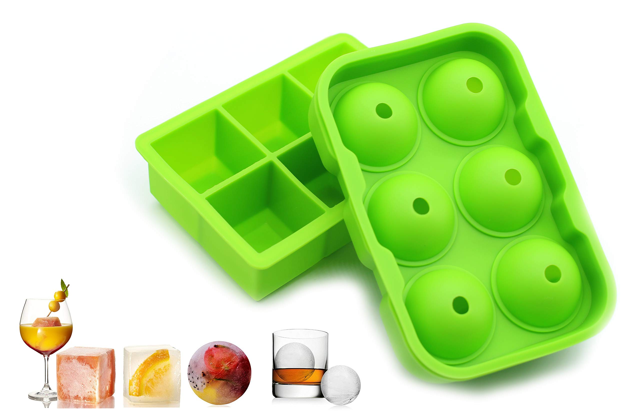 2 Pack Large Silicone Ice Cube Trays Molds, Square and Round Ball Ice Maker, Flexible Easy Release Stackable Dishwasher Safe Ice Mold for Whiskey Cocktail Beverages Chilled Drink