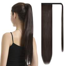 BARSDAR 30 Inch Ponytail Extension Long Straight Wrap Around Clip in Synthetic Fiber Hair for Women - Dark Brown