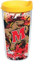 Tervis 1165399 Maryland Terrapins Splatter Tumbler with Wrap and Yellow Lid 16oz, Clear