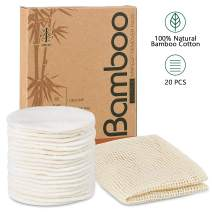 20 Packs Organic Reusable Makeup Remover Pads, Washable Eco-friendly Natural Bamboo Cotton Rounds for all skin types with Cotton Laundry Bag
