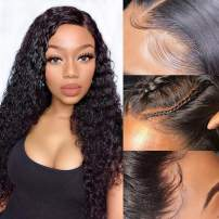 Brazilian Water Wave Lace Front Wigs Wet ang Wavy Human Hair Wig Pre Plucked Natural with Baby Hair Wig for Black Women130% Density Natural Color (22inch)