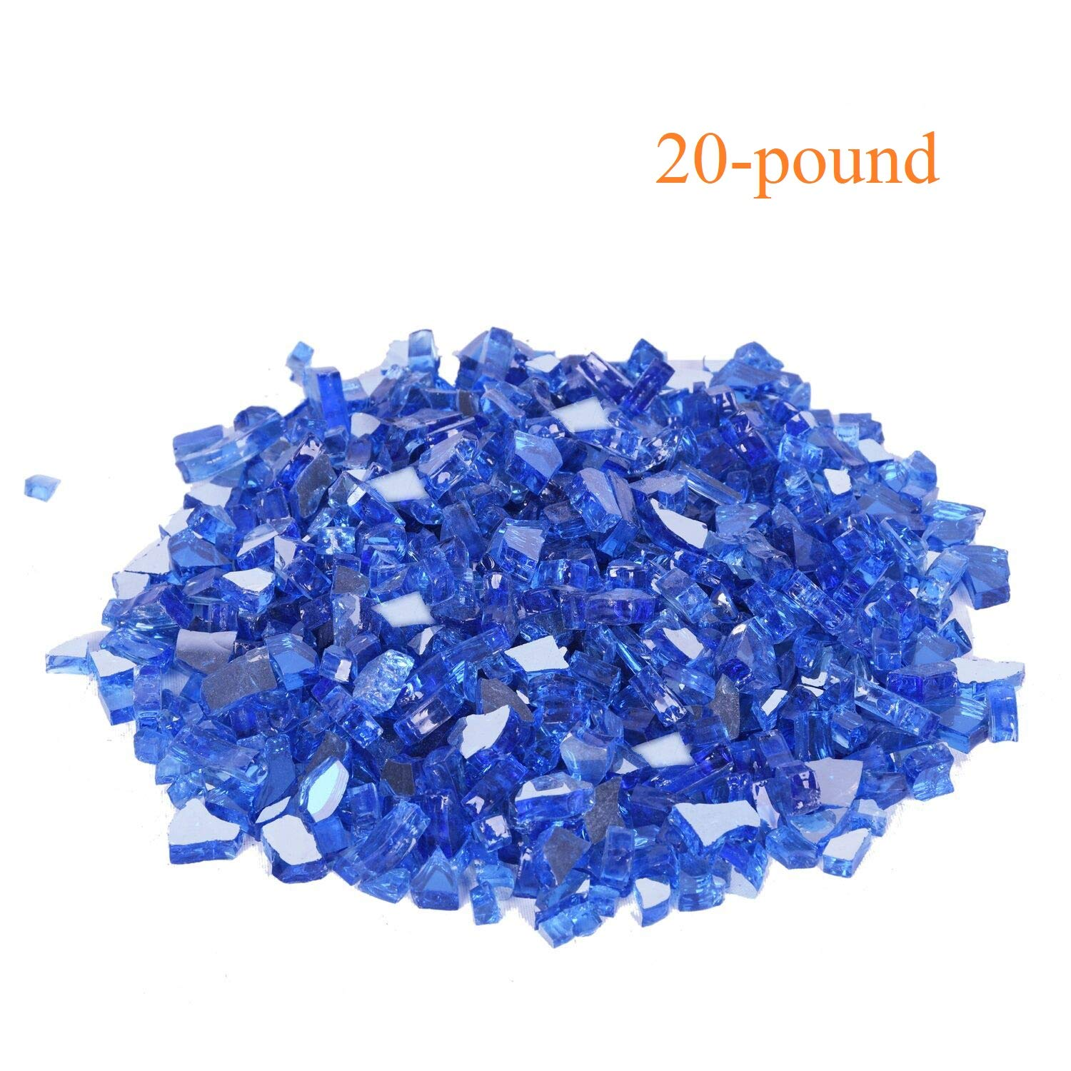 GasSaf 20lb Fire Glass-1/2 Inch Blue Reflective Tempered Fireglass for Fireplace, Fire Pit and Others(20 Pound)(Blue Reflective)