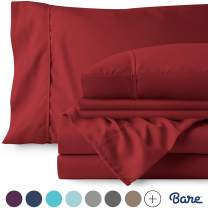 Bare Home 7 Piece 1800 Collection Deep Pocket Bed Sheet Set - Ultra-Soft Hypoallergenic - 2 Extra Pillowcases (Split King, Red)