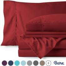 Bare Home 4 Piece 1800 Collection Deep Pocket Bed Sheet Set - Ultra-Soft Hypoallergenic - 1 Extra Pillowcase (Twin, Red)