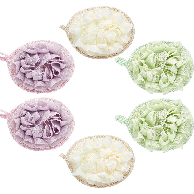 6 Pieces Bath Shower Pouf Sponge Mesh Pouf Shower Ball Exfoliating Body Loofah Shower Scrubber Ball Shower Glove with Flower Bath Ball (Beige, Green, Purple)