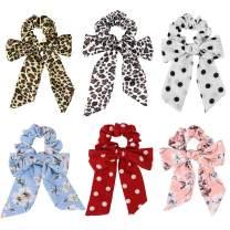 SuPoo 6 Pack Leopard Scrunchies Print Animal Leopard Hair Scarf Satin Silk Hair Ties Elastic Hair Bands Bow Scrunchies Boho Flower Chiffon Hair Scrunchie Ponytail Holder for Women Young Ladies