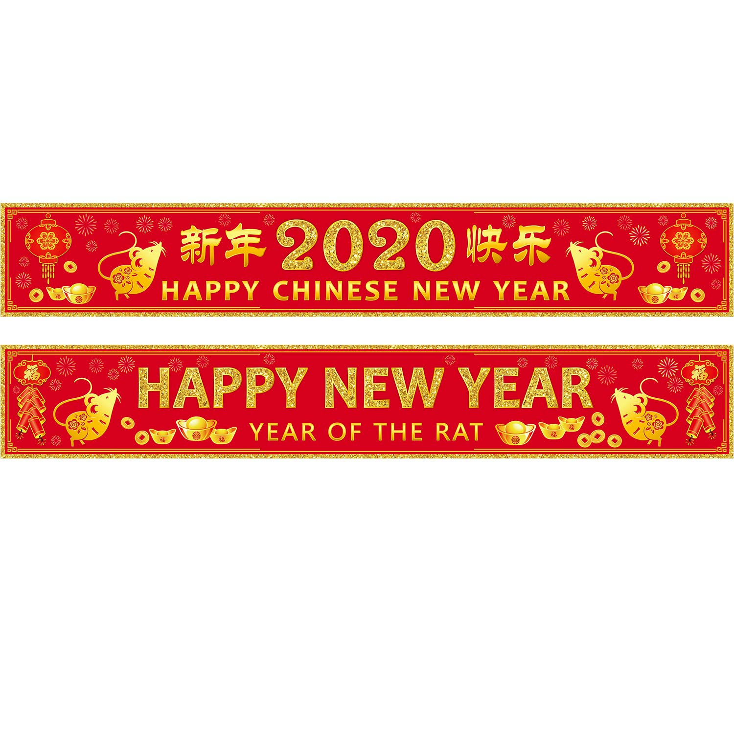 Chinese 2020 New Year Decorations, New Year Party Suppliers Year of The Mouse Party Banner with 20 Glue Point Dots (Chinese New Year Red)