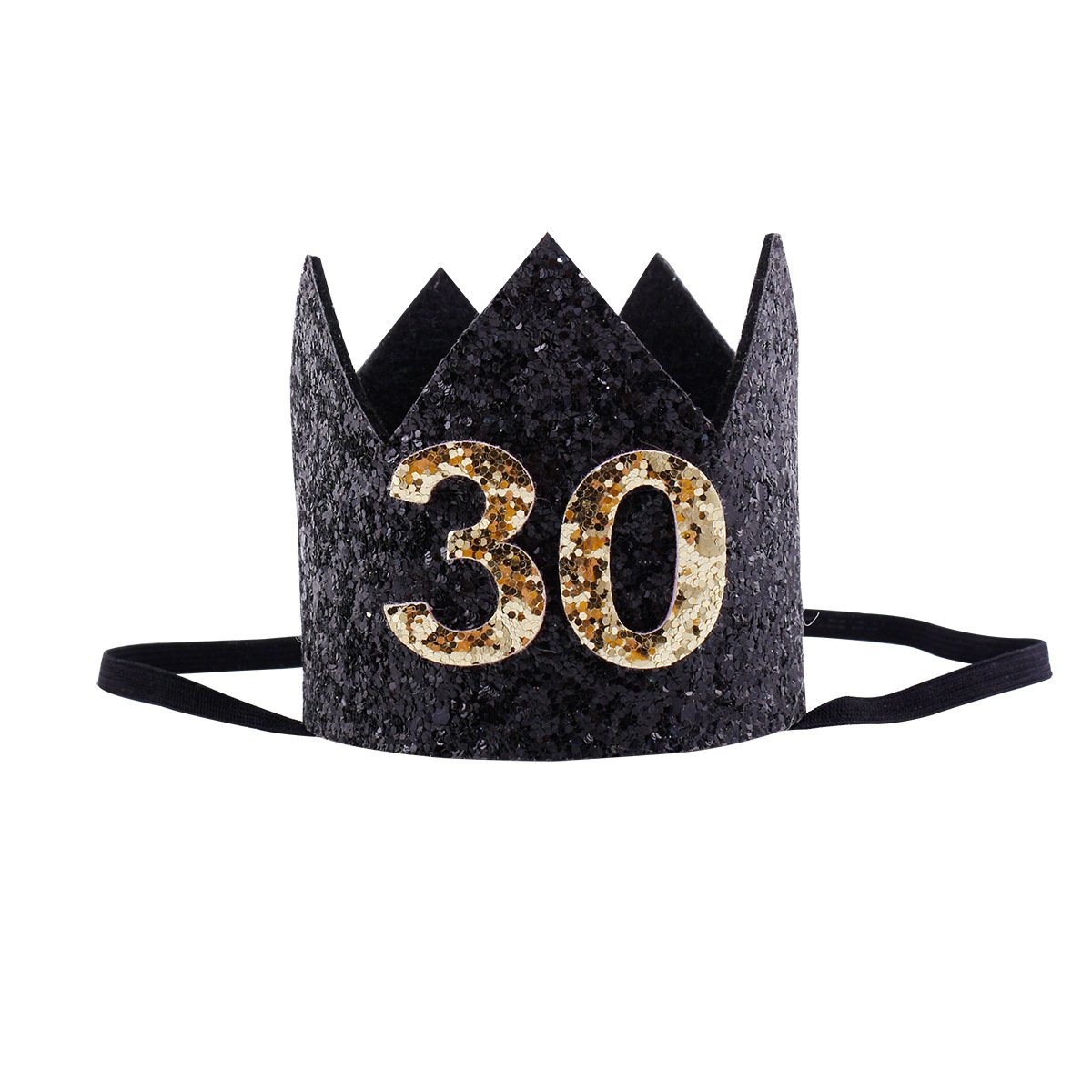 30th Birthday Crown Black Glitter Birthday Crown for 30 Years Old Birthday Party Decorations, Birthday Party Hats for Unisex Adult Women 30 Tiara Headband Mini Birthday Crowns Smash Photo Props