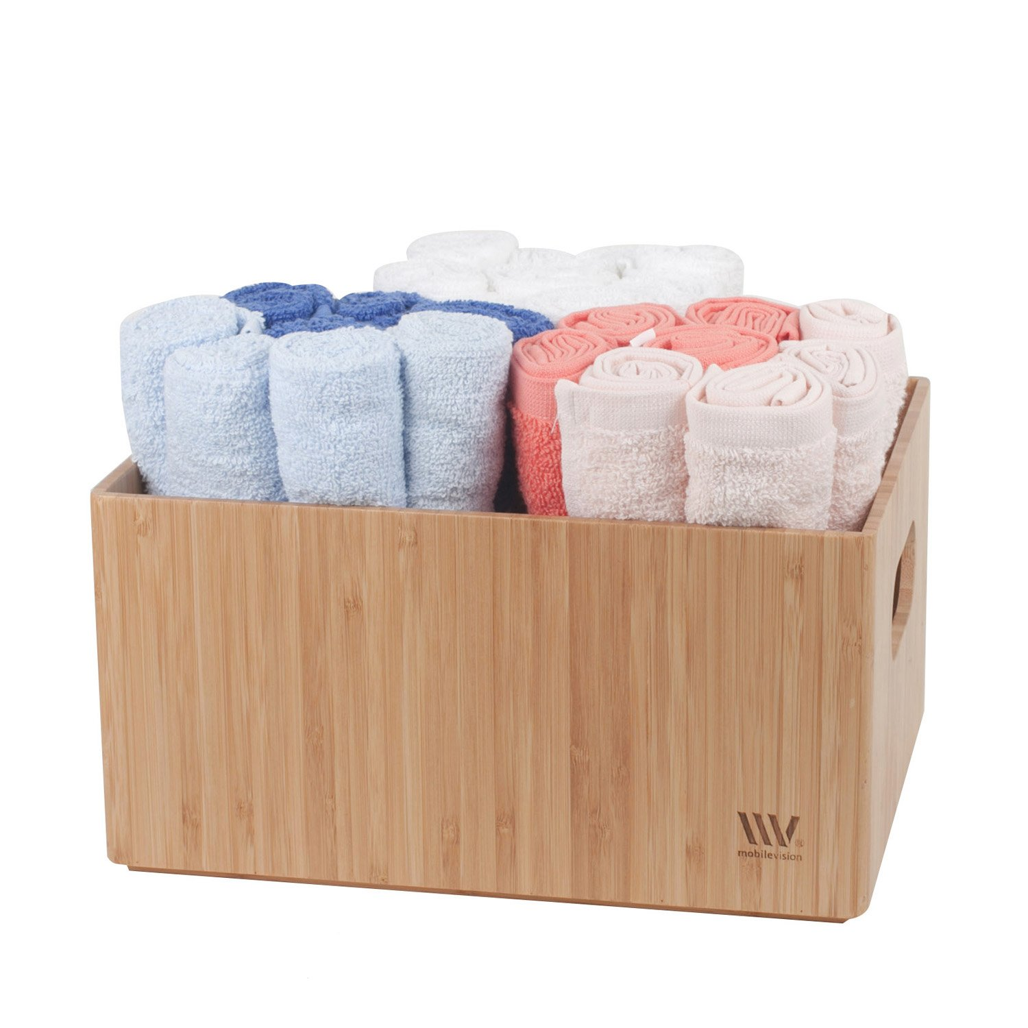 """MobileVision Bamboo Bathroom Bin Organizer for Toiletries, Make Up & Cosmetics, Brushes, Styling Tools & Products, Cleaning Supplies, Toilet Paper 9"""" x 12"""" x 6"""""""