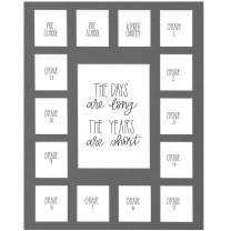 School Days Picture Mat with Multiple Openings–School Years Photo Collage – The Days Are Long Picture Mat – No Frame - 2 Pre-School & Kindergarten to 12th Grade (15 Photos, 2 Pre School - 12th, Gray)