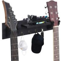 TCJJ Double Guitar Holder Wall Hanger, Guitar Wall Mount Bracket Wood Hanging Rack with Guitar Accessories Storage Shelf and Hooks (Black)
