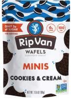 Rip Van Wafels Cookies & Cream Pouch of Mini Stroopwafels - Healthy Snacks - Non GMO Snack - Keto Friendly - Office Snacks - Low Calorie Snack - Low Sugar (3g) - 6 Pack