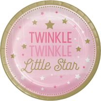 Creative Converting 323421 96Count Sturdy Style Dessert/Small Paper Plates, One Little star- Girl, One Little Star - Girl