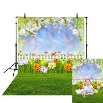 Allenjoy 5x7ft Spring Easter Backdrop Fairy Tale Woodland Green Grass Leaves Colorful Flowers White Fence Eggs Bokeh Kids Children Photography Background Decoration Photo Studio Props