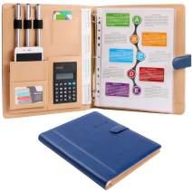 Z PLINRISE High Grade Multifunction Letter Size Padfolio/Resume Portfolio Folder-Document Organizer/Business Card Holder with Calculator and 8 File Pockets (Blue)