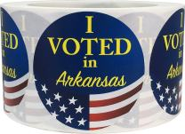 I Voted in Arkansas Stickers for Election Day 2.5 Inch Round Circle Dots 500 Total Adhesive Stickers