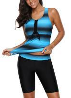 Lovezesent Womens Color Block Racerback Tankini Swimsuit with Swim Capris S-XXXL