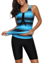 Lovezesent Womens Color Block Racerback Tankini Swimsuit with Swim Capris S-XXXL