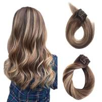 Clip in Human Hair Extensions Ombre Balayage Real Remy Hair Extensions Clip on Medium Brown with Strawberry Blonde Highlights 120g Thicken Double Weft Full Head Straight Ponytail 7pcs 17 Clips 14 Inch