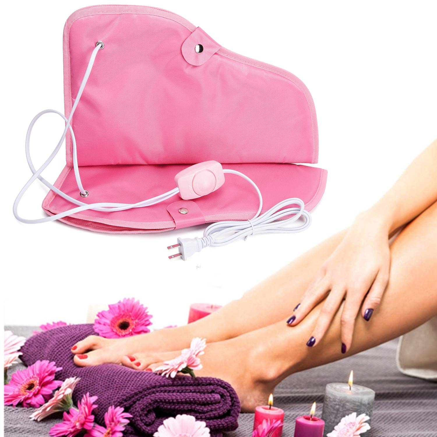 Paraffin Wax Heated Booties, Electric Heated Nail Art Manicure Foot Cover, Infrared Wax Therapy Treatment SPA Warmer Kit For Foot Care