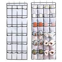 Qozary 2 Pack Over The Door Shoe Organizers, Mesh Shoe Holder with 24 Pockets Hanging Shoes Organizer Compartment Storage with 4 Door Hooks for Bedroom Closet Bathroom (2 Pack, White)