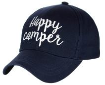 C.C Women's Embroidered Quote Adjustable Cotton Baseball Cap, Happy Camper, Navy
