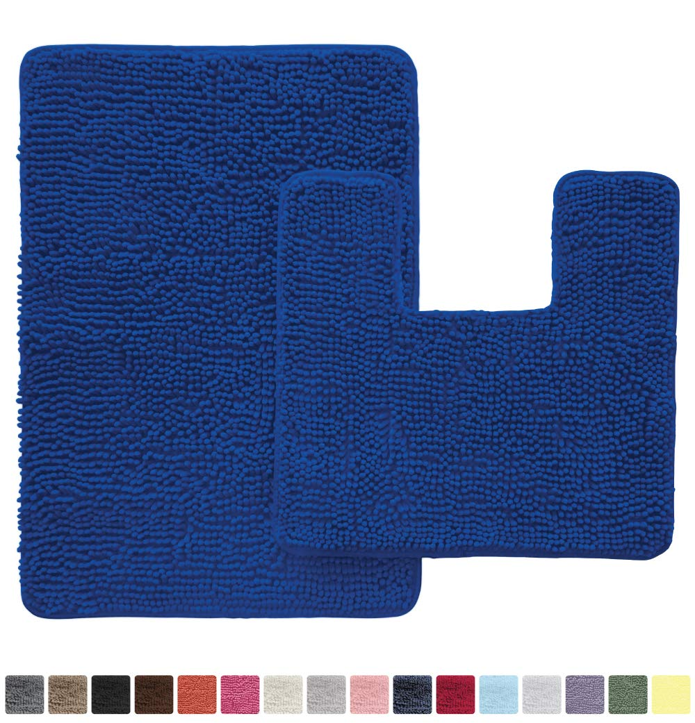 GORILLA GRIP Original Shaggy Chenille 2 Piece Area Rug Set, Includes Square U-Shape Contoured Toilet Mat & 30x20 Bathroom Rugs, Machine Wash/Dry Mats, Plush Rugs for Tub Shower & Bath Room, Royal Blue