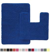 GORILLA GRIP Original Shaggy Chenille 2 Piece Area Rug Set, Includes Square U-Shape Contoured Toilet Mat & 30x20 Bathroom Rugs, Machine Wash/Dry Mats, Plush Rugs for Tub Shower & Bath Room, Royal Blue