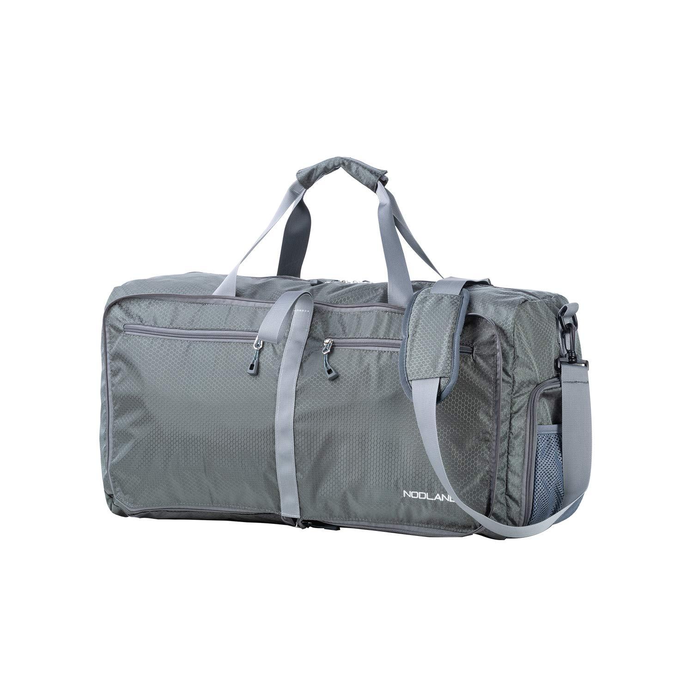 NODLAND 50L Packable Travel Duffle Bag Light Weight Foldable Duffel Bag, Water Resistant Gym Bag Grey