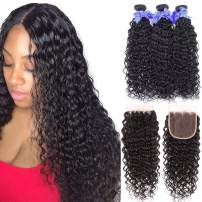 Water Wave Human Hair Bundles With 4×4 Lace Closure Free Part With Baby Hair 100% Unprocessed Brazilian Virgin Human Hair Extensions Wet And Wavy Ocean Curly 3 Bundles With Closure(18 20 22+16)