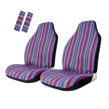 Copap Seat Covers Universal for Purple Stripe Front Seat Baja Stripe Colorful Bucket Covers for Car, SUV & Truck (2 seat Covers+2 seat Belt Covers)
